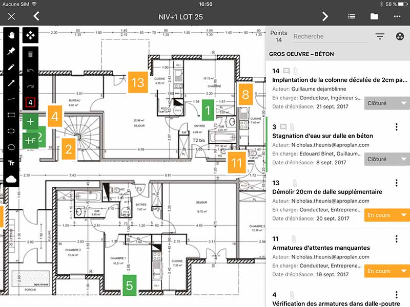 annotations plans chantier construction